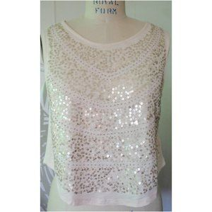 FOREVER 21 LIGHT PINK GOLD SEQUIN CROP TOP L